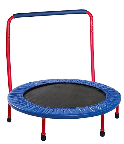 "Trampoline for kids 36"" Portable with Safety Pad and Handle Bar - Red"