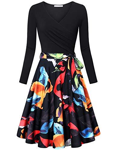 Messic Fall Dress for Women Women's Long Sleeve V Neck Dresses Vintage Elegant Flared Dress Black Orange X-Large