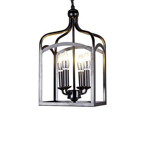 New Galaxy Lighting Antique Black finish 4-light Hanging Lantern Iron Frame Pedant Chandelier