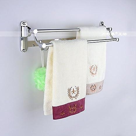 Dew Fuerza Fannie Racks Doblar Acero Inoxidable Baño Toallero (cuarto de baño - Bastidores de toallas con ganchos: Amazon.es: Hogar