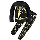 Thombase Kids Floss Like a Boss All Over Gaming Black Gold Cotton Long Pajamas