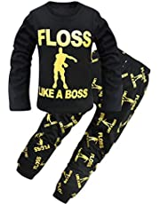 Thombase Kids Floss Like a Boss All Over Gaming Black Gold Cotton Long Pajamas