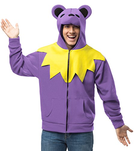 Teen Bear Dead Costumes Hoodie Purple Grateful (Rasta Imposta Juniors Hoodie Grateful Bear, Purple/Yellow/Black, One)