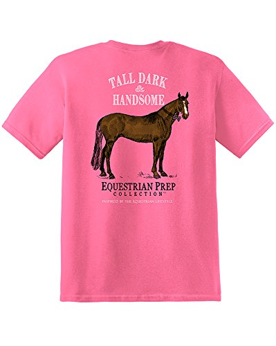 Price comparison product image TurnipTruckDesigns Equestrian Prep Collection Girls Tall Dark and Handsome Equestiran T-Shirt, Crunchberry (Large)