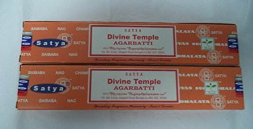 Satya Divine Temple Incense Sticks - Set of 2 Packs of 15 Grams Each - Incense Sticks Temple