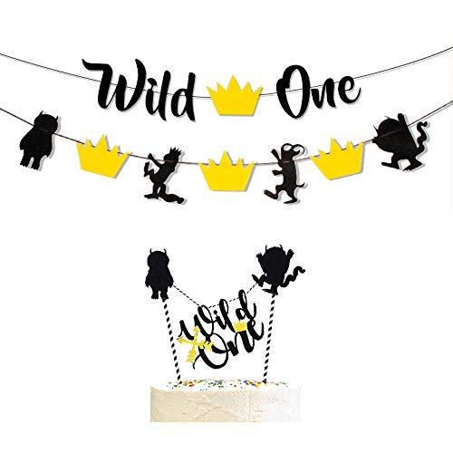 Wild One Banner & Wild Beast Banner & Wild One Cake Topper,Kids Boy or Girl First Birthday Party Supplies Black Glitter Handmade Decorations ()