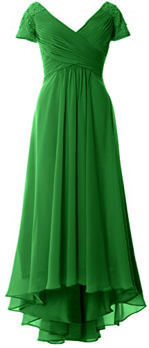 MACloth Cap Sleeves V Neck High Low Mother of Bride Dress Evening Formal Gown Verde
