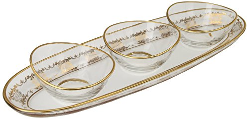 Gold Relish Dish - Classic Touch CRG13 Oblong Relish Dish with 14K Gold Artwork