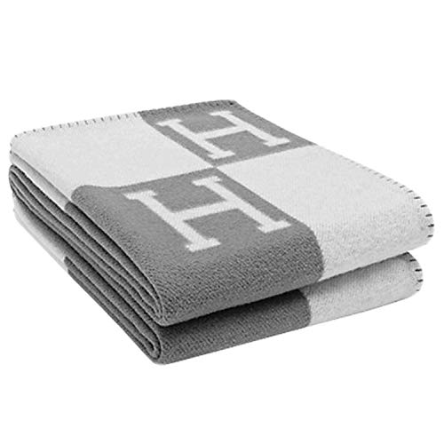 Emoji Fun Slippers Initial Letter H Knitted Throw Blanket Grey Throws and Blankets for Sofa ()