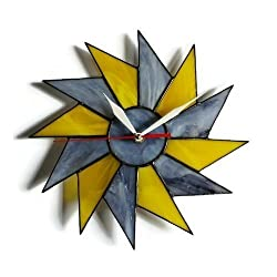 ZangerGlass Unusual Mid Century Modern Starburst Wall Clock Gray Yellow 10 inch, Decorative Stained Glass Wall Decor