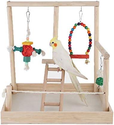 ZWW Parrot Playstand, Parque De Entrenamiento De Madera para Loros Valla De Juego Gimnasio Perca con Juguete Masticable Y Columpio Y Escalera: Amazon.es: Hogar