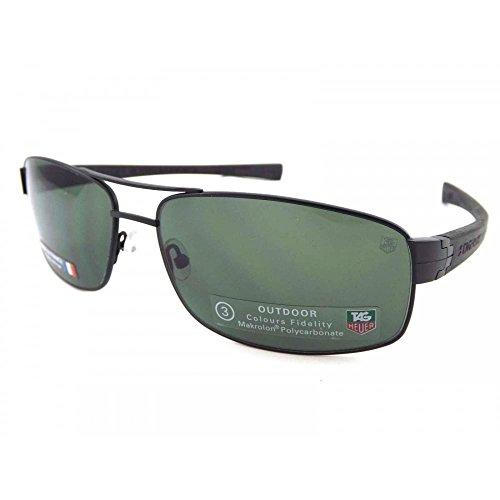 TAG HEUER 66 0255 301 641603 Polarized Rectangular Sunglasses, Black, 62 mm ()