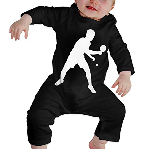 UGFGF-S3 Table Tennis Player Baby Girl Long Sleeve Romper Jumpsuit Kid Pajamas Onsies Black