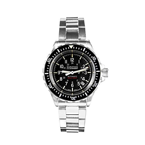 Marathon Watch WW194006BRACE-US GSAR Swiss Made Military Issue Diver's Automatic Watch with Tritium (41mm, Stainless Steel Bracelet, US Government)