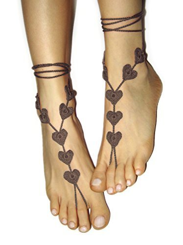 Brown Heart Anklet, Beach wedding Barefoot Sandals, Foot Jewelry, Sexy Valentines Day Gift