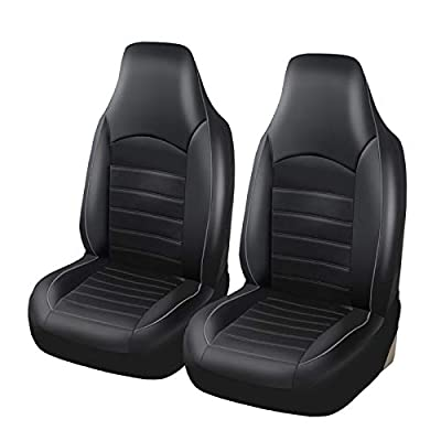 TOYOUN Classic Universal PU Leather Car Front Seat Covers High Back Bucket Seat Cover - Fit Most Cars, Trucks, SUVS, or Vans 2 PCS Gray Trim Auto Seat Covers Set Car Seat Protector for All Seasons: Automotive