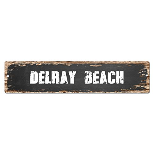 DELRAY BEACH Plate Sign Vintage Rustic Street Sign Beach Bar Pub Cafe Restaurant shop Home Room Wall Door Decor - Beach Delray Shops