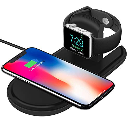 CETECK 2 in 1 kabelloses Ladegerät Kompatibel für iWatch/iPhone, Kabelloses Ladegerät Qi Schnelle kabellose Ladestation Kompatibel für Apple Watch Series 4/3/2/1 iPhone XS/Max/XR/X / 8 Plus / 8