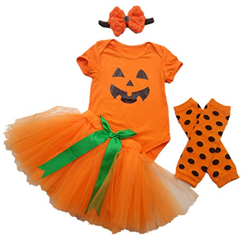 AISHIONY Baby Girls' 1st Halloween Costume Tutu Outfit Black Headband Onesie S -