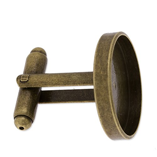 10pcs/lot Antique Bronze Plated Cuff link Blanks with 16mm Round Bezel