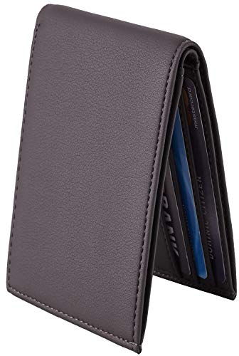 - Chelmon Ultimate Slim Mini Wallet Front Pocket Minimalist Wallet Bifold Genuine Leather RFID Blocking(ReNapa Carbon Grey)