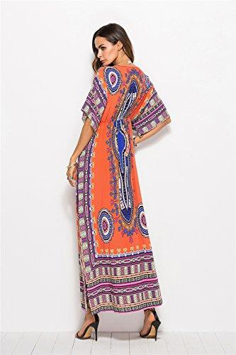 Manches A Line vase en Encolure Tribal Robe Orange Patineur Paisley Kimono Colonne Profonde Une Aztque Ligne Africain A Patineuse Longue V Ethnique Baroque Ligne Long Maxi Col argawZq