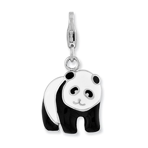 925 Sterling Silver Rh Enameled Panda Bear Lobster Clasp Pendant Charm Necklace Animal Wild Fine Jewelry Gifts For Women For Her ()