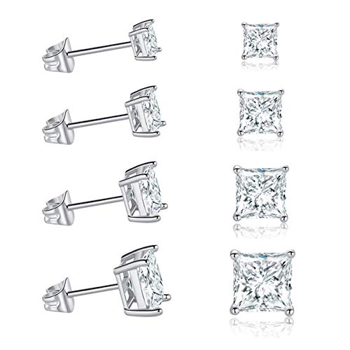 MDFUN 18K White Gold Plated CZ Stud Earrings Jewelry for Women Hypoallergenic (5 Pairs) (18k White Gold Earing)