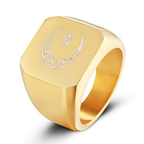 JAJAFOOK Mens Womens Muslim Allah Moon and Star Signet Rings, Stainless Steel Muslim Signet Ring, Silver/Gold/Black by JAJAFOOK