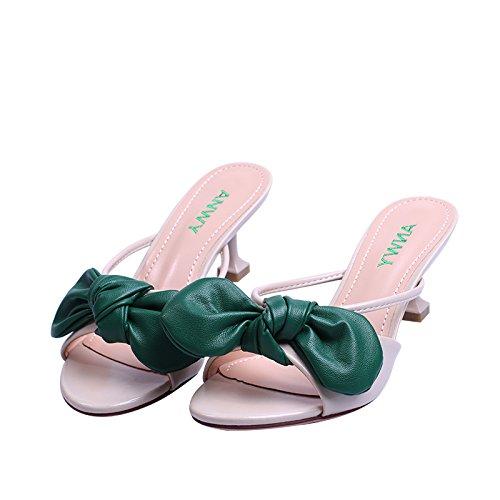 KPHY Poissons Bouche Chaussures Doux Arc Traînée Confortable Wild Mince Sandales Pantoufles. green Bc5fYZ3