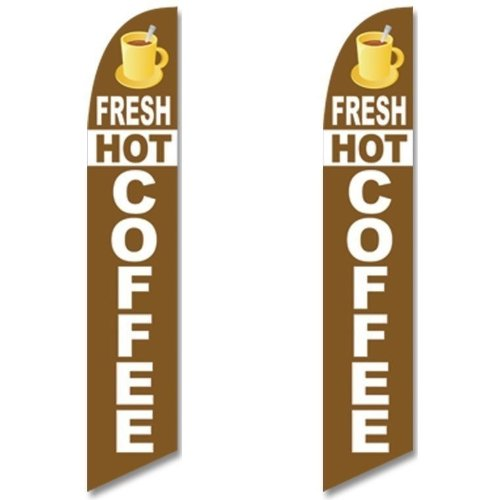 Twin Pack Full Sleeve Swooper Flags FRESH HOT COFFEE Brown White Cup - Fresh Pics
