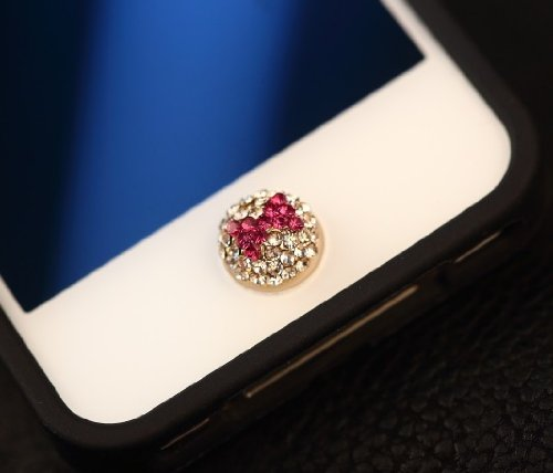 Big Mango Cute Crystal Plum Bow Round Iphone Home Return Key Button Sticker / Cell Phone Charms for Apple Iphone 5 5s 5c Iphone 4 4s Ipod Touch Ipad Tablet Replace Replacement
