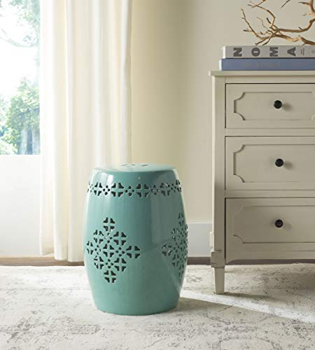 Safavieh Castle Gardens Collection Quatrefoil Aqua Glazed Ceramic Garden Stool (Decorative Garden Stool)