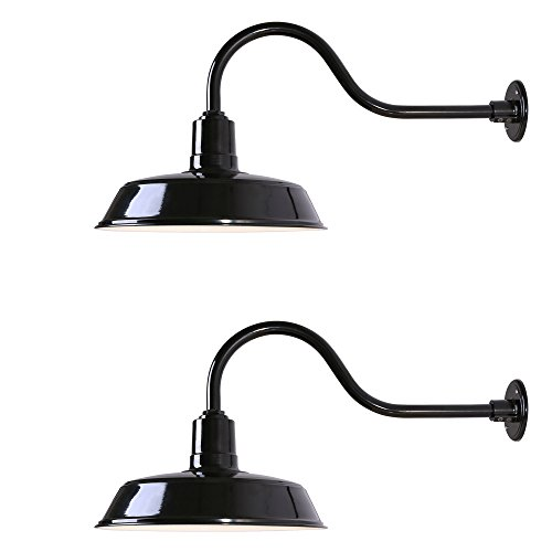 2 Pack Exterior Outdoor Barn Light Fixture Farmhouse Industrial Vintage Gooseneck Sconce Aluminum 16 Shade, Glossy Black