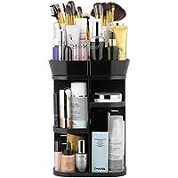 Jerrybox Makeup Organizer 360 Degree Rotation Adjustable Multi-Function Cosmetic Storage Box (Black)