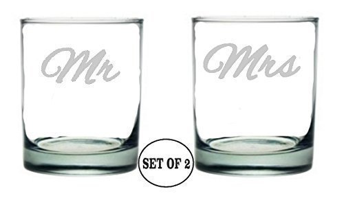 "Mr and Mrs Whiskey Glasses | Hand Made Etched Engraved | Rocks Style | Perfect Fun Handmade Present for Everyone | Lead Free | Dishwasher Safe | Set of 2 | 4.0"" High x 3.0"" Wide 