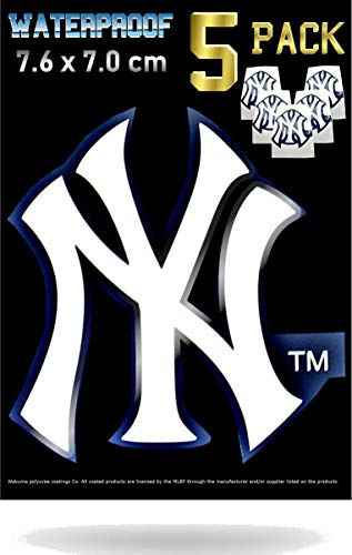 New York Yankees Car Decal Stickers Pack | Waterproof Glossy Finish |Thick NY Emblem Logo Sticker| Uses: Cell Phone Case Laptop Wall Helmet Window Mug Toolbox Lunchbox Hard Hat and ()