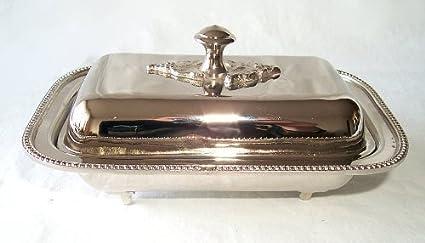 Elegante Mantequera con Pieza vídrio de plata, Caja de caviar