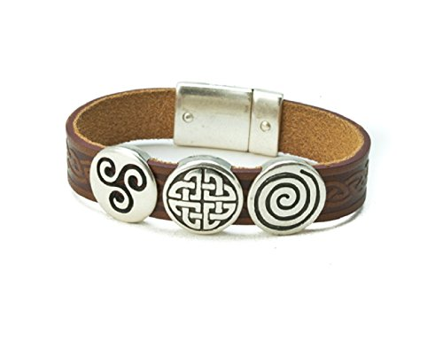- Biddy Murphy Celtic Leather Bracelet Irish Charms Brown 7 1/2