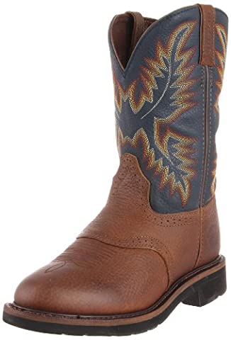 Justin Original Work Boots Men's Stampede Work Boot,Copper Kettle Rowdy/Steel Blue,12 D US (Boot Rodeo Style)
