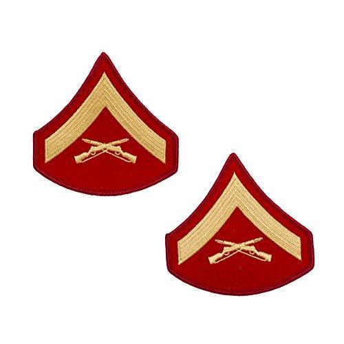 USMC Gold on Red Chevron, Male, Lance Corporal L/Cpl (Marine Corps Chevron)