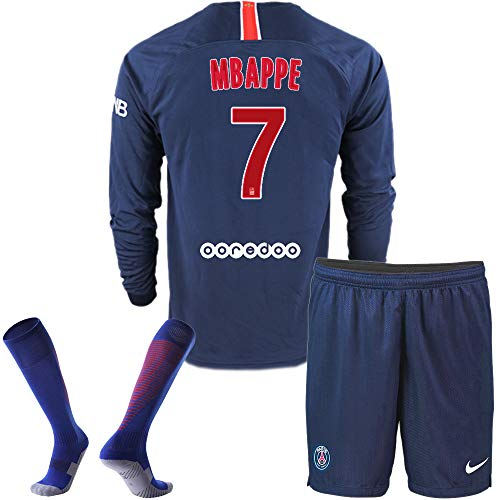 78b5e430f945a PSG Home Mbappe #7 2018-2019 Season Kids/Youth Soccer Jersey Long Sleeve &  Shorts & Socks Color Blue (9-10Years)