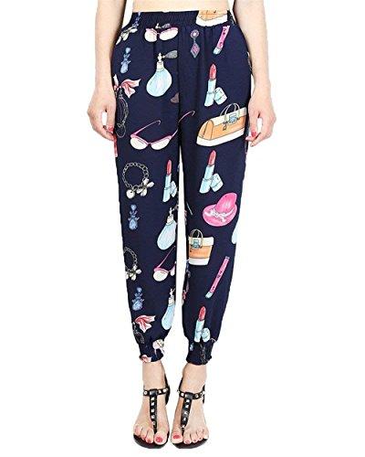 Élégant Taille Décontracté Floral Filles Mode D'été Floqué Pantalon Loisirs Hippie Haute Lanterne Femmes Vêtements Couleur Large Temps 12 Harem tXOAqz