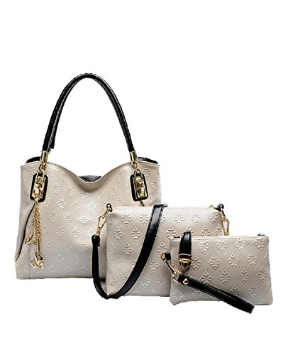 2016 Modern And Noble Pu Bag Tote Top Handle Bag Satchels Three Pieces In One Set (white Gold)
