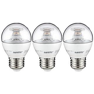 Sunlite G16/LED/7W/D/E26/CL/ES/27K/CD/3PK Dimmable Energy Star 2700K Medium Base Warm White LED Globe G16 7W Light Bulb (3 Pack), Clear