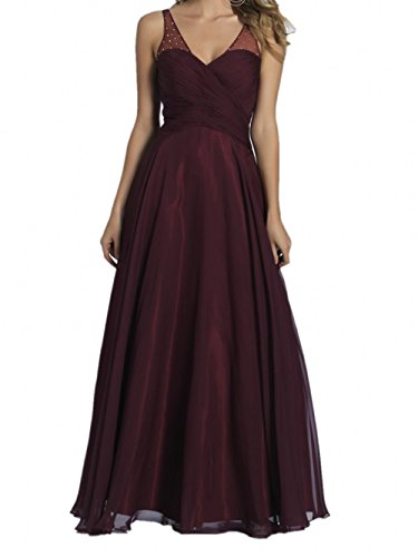 V Chiffon Brautjungfernkleider Abendkleider Ausschnitt Marie Braut Lang Burgundy Burgundy La Promkleider qwXHptW