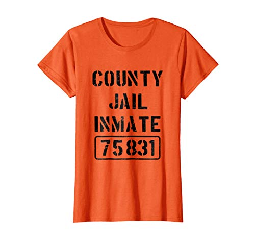 Womens Prisoner County Jail Inmate Costume | Halloween T-shirt Large Orange ()
