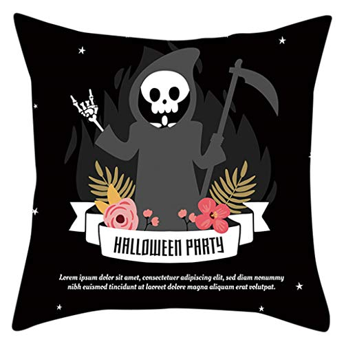 FEDULK Halloween Pillow Covers Happy Halloween Castle Pumpkin Cushion Cover Home Decorations Pillowcase(H) (Buy Pillow Where Cases To Euro)