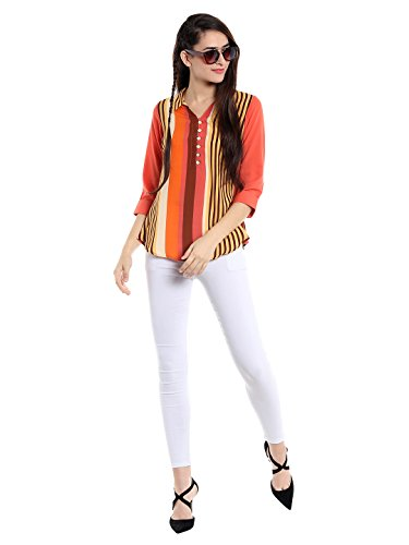 FUSION BEATS Women Polyester Multicolored Striped Top