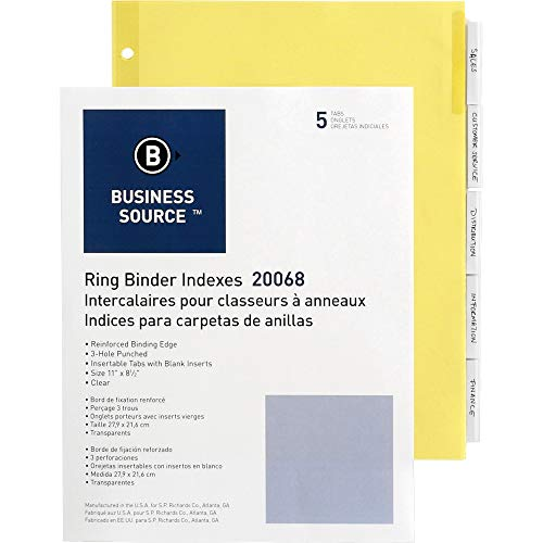 """Business Source Buff Stock Ring Binder Indexes, 2"""", 50/Box (20068BX)"""
